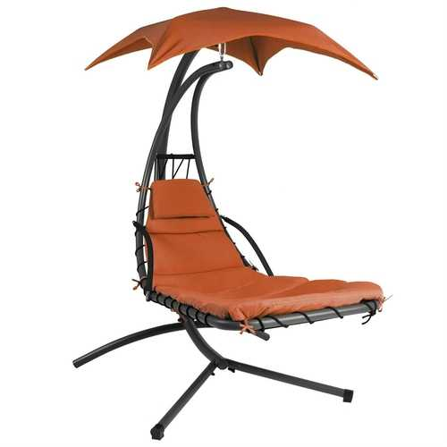 Orange/Red Single Person Sturdy Modern Chaise Lounger Hammock Chair Porch Swing