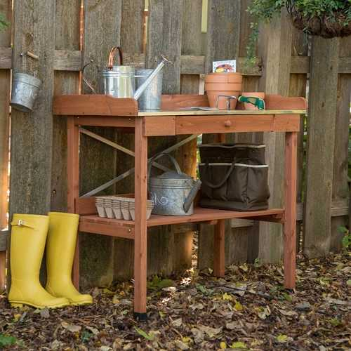 Durable Weather Resistant Wood Potting Bench Garden Table with Metal Top