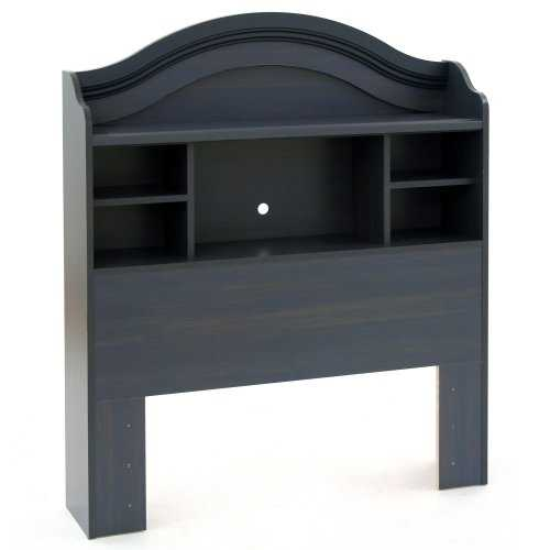 Twin size Arch Top Bookcase Headboard in Dark Blueberry Finish