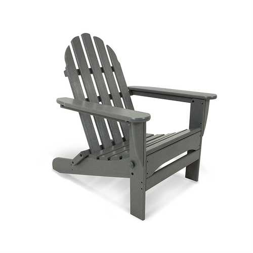 Outdoor All-Weather Folding Adirondack Chair in Gray Wood Finish - Made in USA
