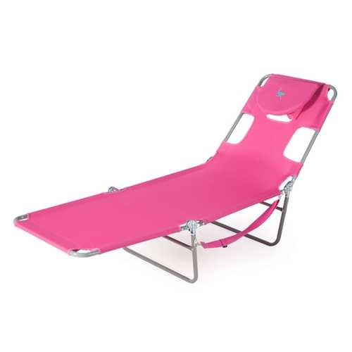 Pink Outdoor Chaise Lounge Beach Chair with 3 Recline Positions