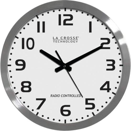 La Crosse Technology WT-3161WH 16 Brushed-Metal Atomic Wall Clock