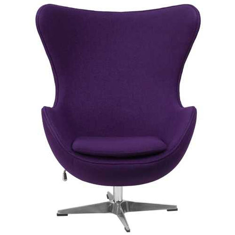 Purple Wool Fabric Upholstered Mid-Century Style Arm Chair