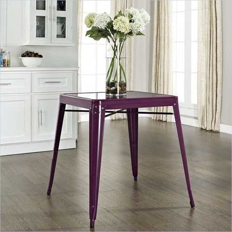 Mid-century French Cafe Style Powder-coated Steel Dining Table in Purple