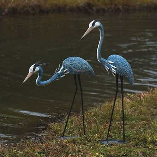 Great Blue Herons Outdoor Yard Garden Statue Sculpture in Powder Coated Steel