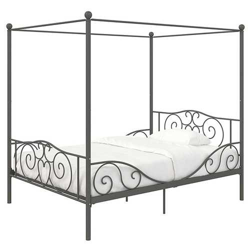 Full size Heavy Duty Metal Canopy Bed Frame in Pewter Finish