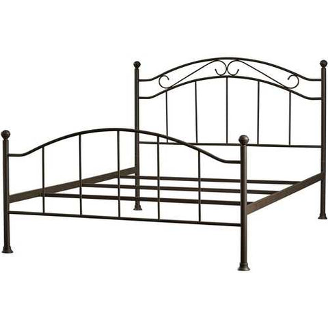 Queen size Scroll Design Metal Bed Frame with Headboard and Footboard in Brown Finish