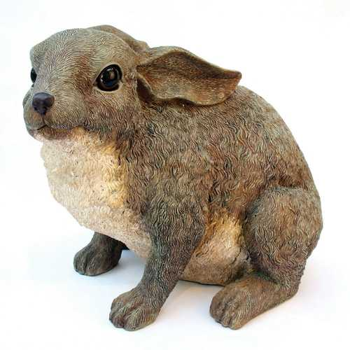 Bunny Rabbit Outdoor Garden Statue in Grey Brown Resin