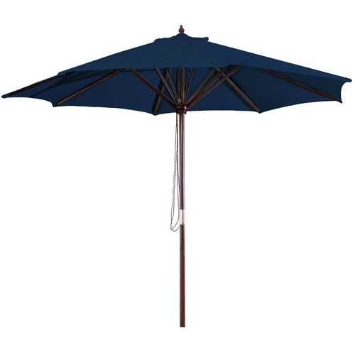 9-Foot Wood Frame Patio Umbrella with Pulley and Navy Blue Canopy