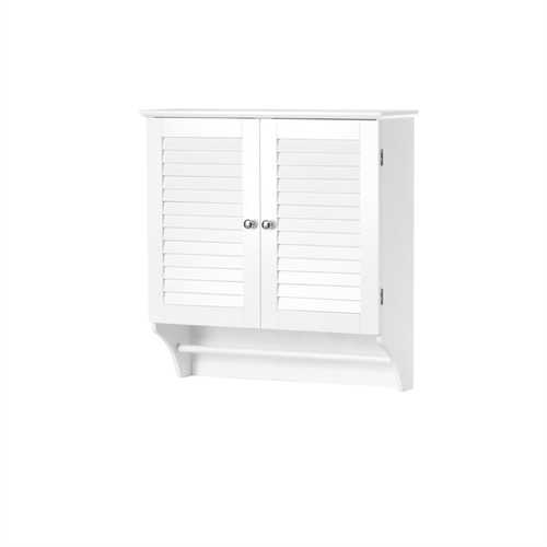 White Bathroom Wall Cabinet with 2 Louver Shutter Doors and Shelf