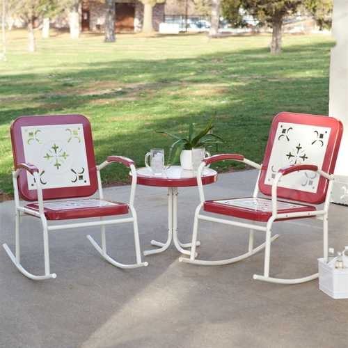 Cherry Red Retro Patio 3 Piece Metal Rocker Rocking Chair Set