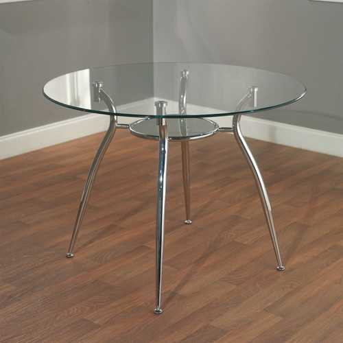 Round Glass Top Dining Table with Chrome Plated Metal Frame