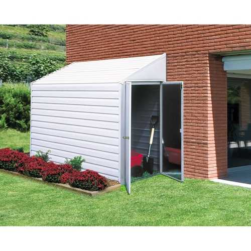 Outdoor Steel 7 x 4-ft Storage Shed with Sloped Roof