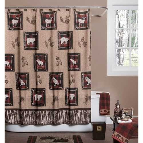 Rustic Log Cabin Wilderness Shower Curtain in Polyester Fabric