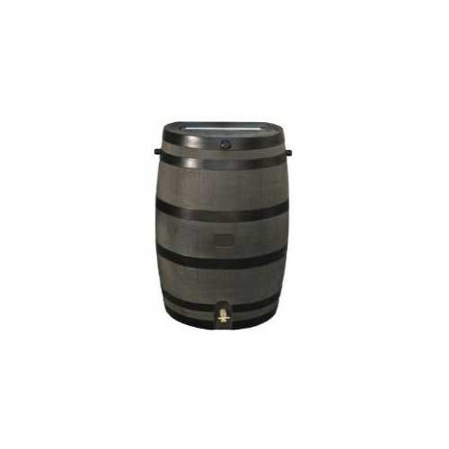 50-Gallon Wood Grain Rain Barrel with Brass Spigot