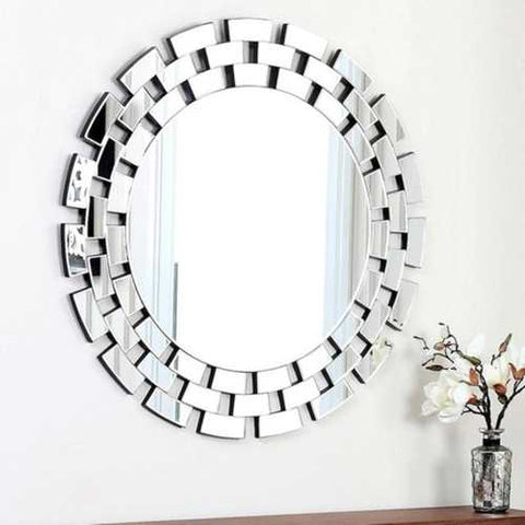 Modern 35.5 inch Round Wall Mirror with Tiered Glass Brick Border