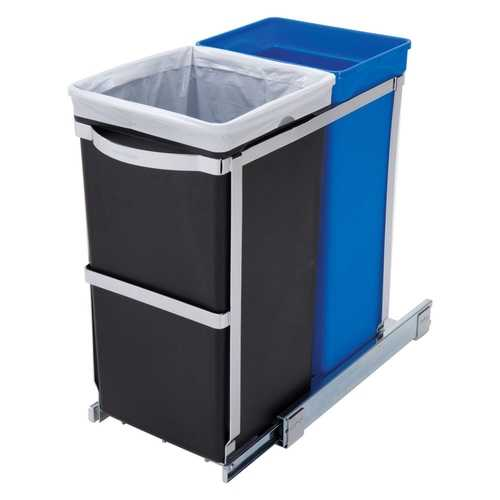Pull Out Blue Recycle Bin Black Trash Can Slides Under Kitchen Counter