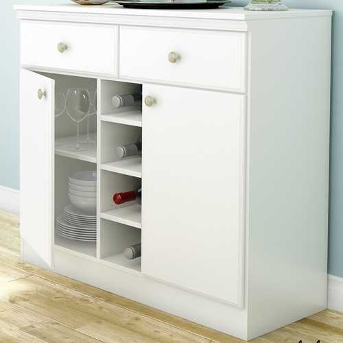 White Dining Room Sideboard Buffet Console Table with 2 Drawers