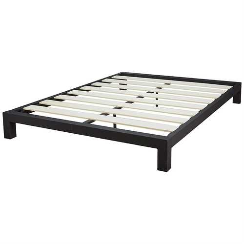 Queen Black Metal Platform Bed Frame with Wide Wood Slats