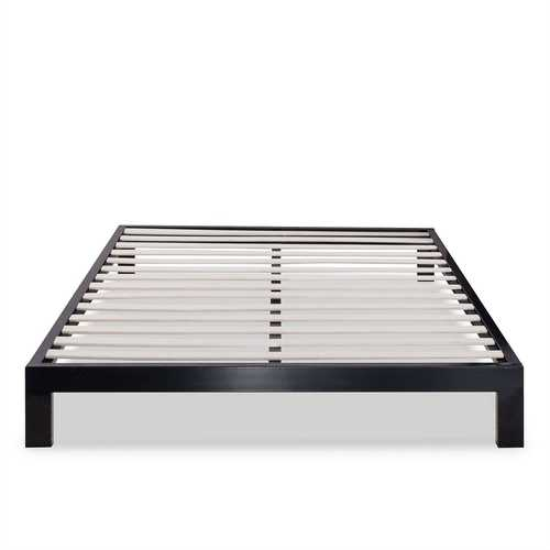 King size Modern Black Metal Platform Bed Frame with Wood Slats