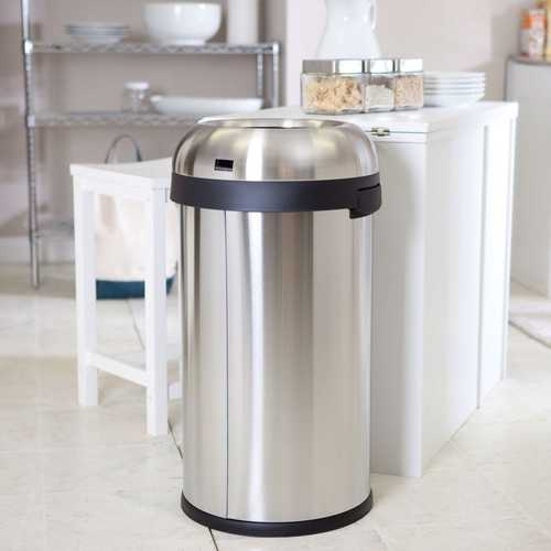Round Stainless Steel 16-Gallon Kitchen Trash Can with Open Top Design