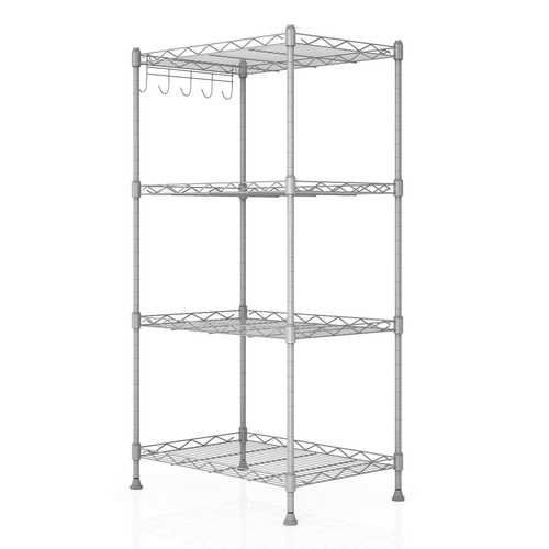 Silver Metal 4-Shelf Wire Shelving Unit Storage Rack