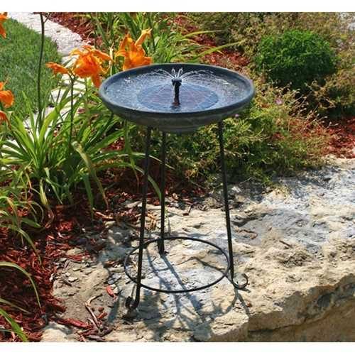 Matte Black Bowl Solar Fountain Bird Bath with Wrought Iron Stand