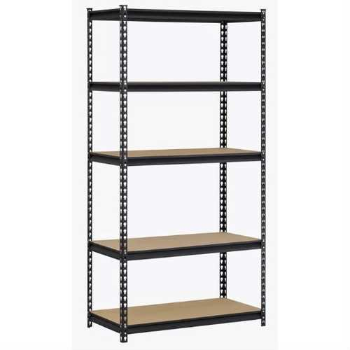 Heavy Duty 5-Shelf Riveted Steel Storage Rack Shelving Unit in Black