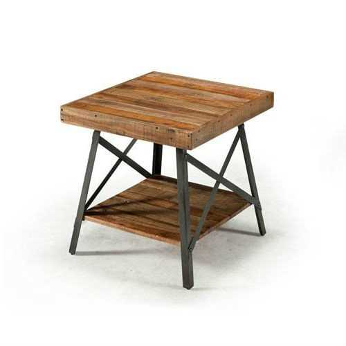 Modern Industrial Solid Wood End Table with Shelf and Metal Legs