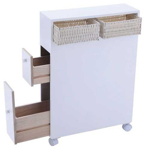 White Bathroom Storage Floor Cabinet with Baskets and Casters