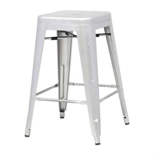 Amazing Indoor Outdoor Backless Stacking Counter Height Bar Stool In Gunmetal Galvanized Steel Ncnpc Chair Design For Home Ncnpcorg