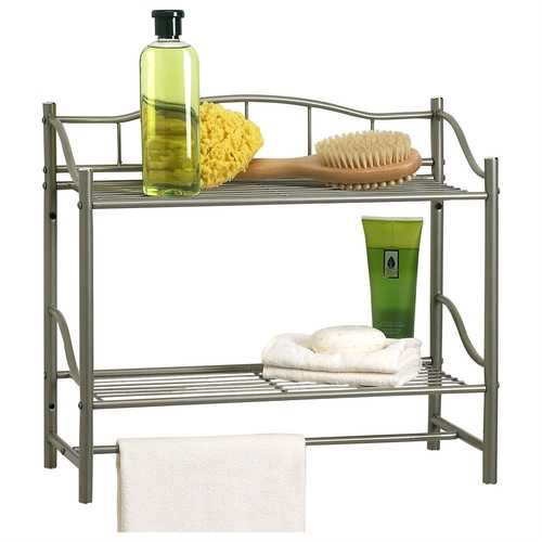 Wall Mounted Bathroom Storage Shelf in Pearl Nickel Metal Finish