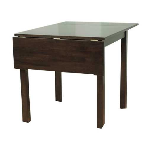 Contemporary Sold Wood Drop Leaf Dining Table in Espresso
