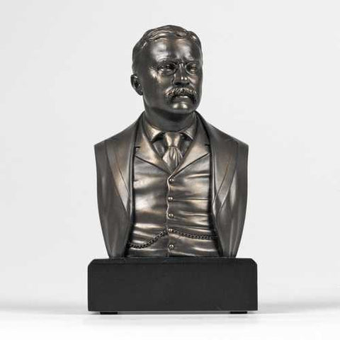 6-inch High Theodore Roosevelt Bust Sculpture Statue in Bronze Finish