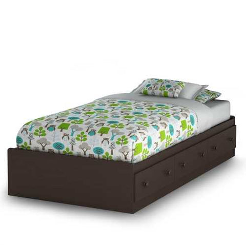 Twin size Platform Bed with 3 Storage Drawers in Chocolate
