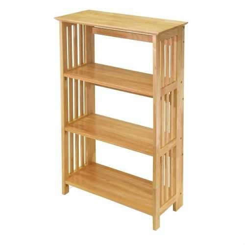 4-Shelf Wooden Folding Bookcase Storage Shelves in Natural Finish