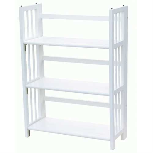 White Wood Folding Bookcase Storage Unit Shelving with 3 Shelves