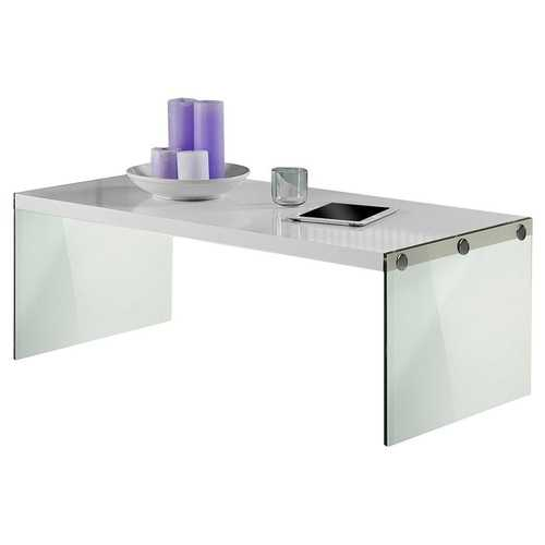 White Modern Rectangular Coffee Table with Tempered Glass Legs