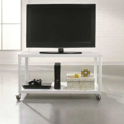 White Metal Modern TV Stand Cart with Bottom Storage Shelf
