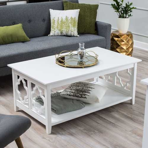 White Quatrefoil Coffee Table with Solid Birch Wood Frame