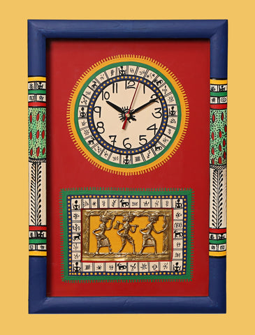 bedroom wall clock with dhokra art