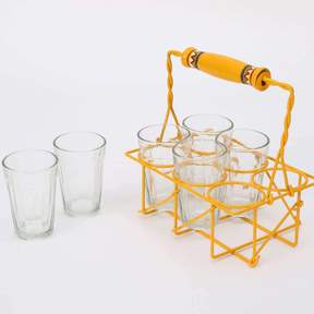 Cutting Chai Glasses with Stand/Set of 6 Transparent Glasses with Stand | Tableware | Home Decor
