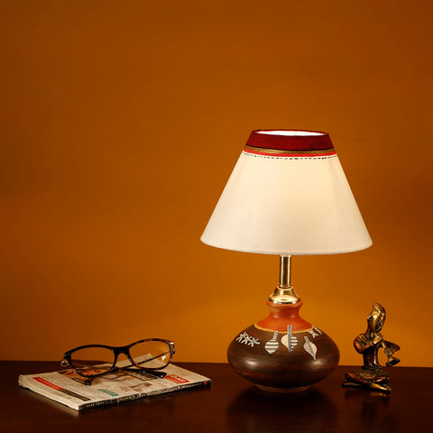 Terracotta Hand-Painted Pot Shaped Decorative Bedside Table Lamp | Table Lamps for Home Decor