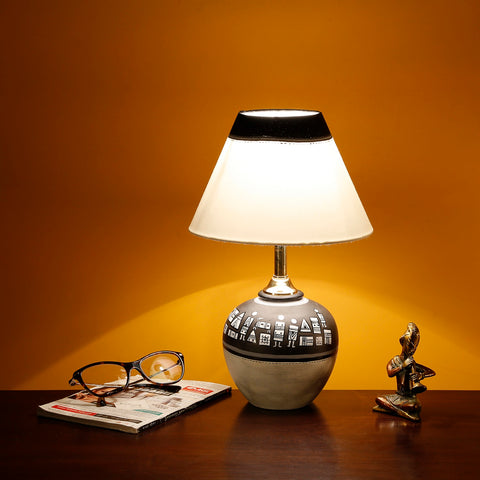 Terracotta Warli Hand-Painted Pot Shaped Home Bedroom Table Lamp