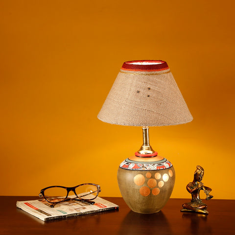 Terracotta Warli Hand Painting Table Lamp