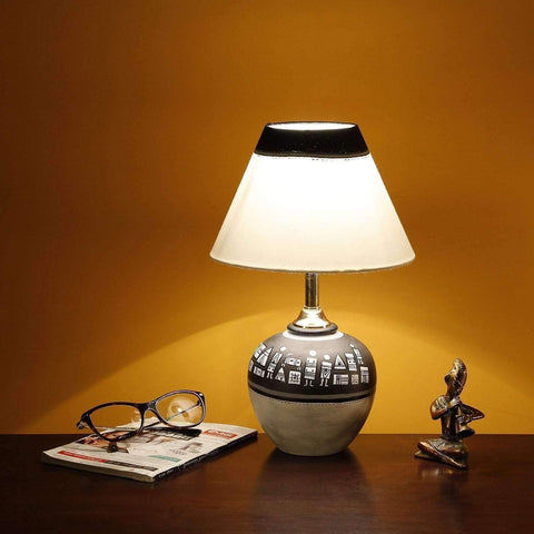 warli hand painted terracotta table lamp