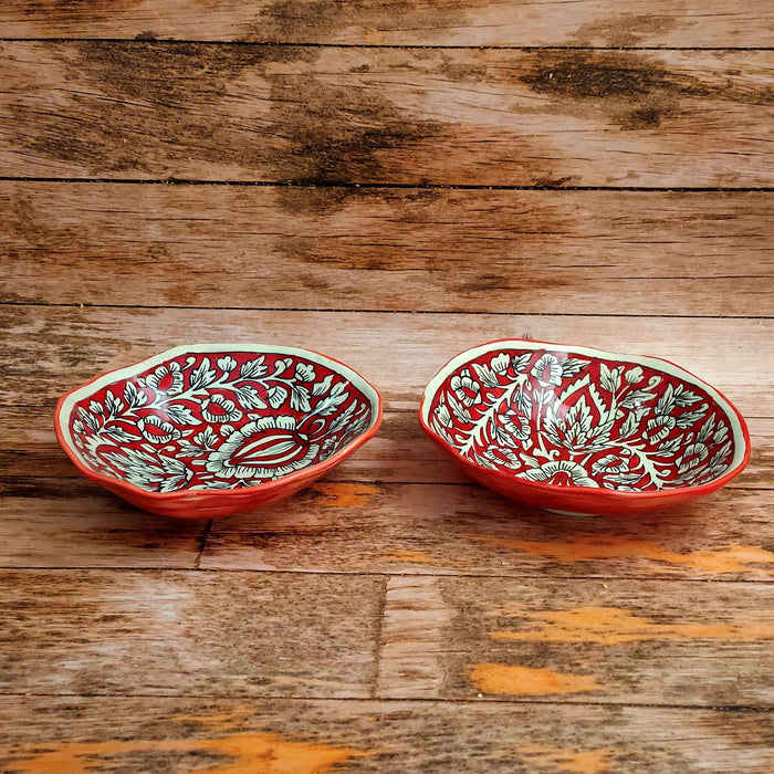 """KALAMKARI COLLECTION"" Red Mughal Serving Bowls - artystagallery"