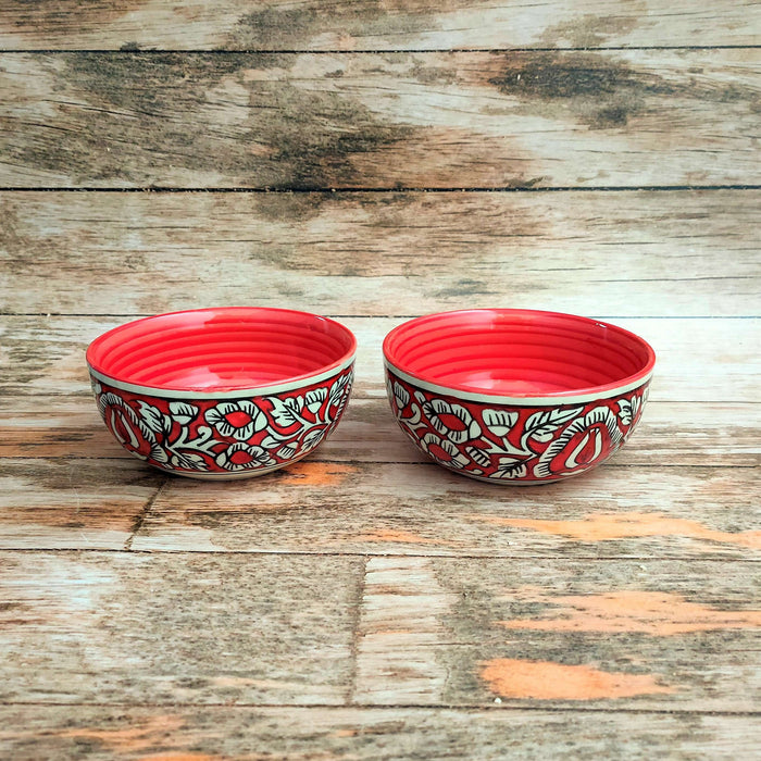 """KALAMKARI COLLECTION"" Ceramic Red Floral Soup Bowls - artystagallery"