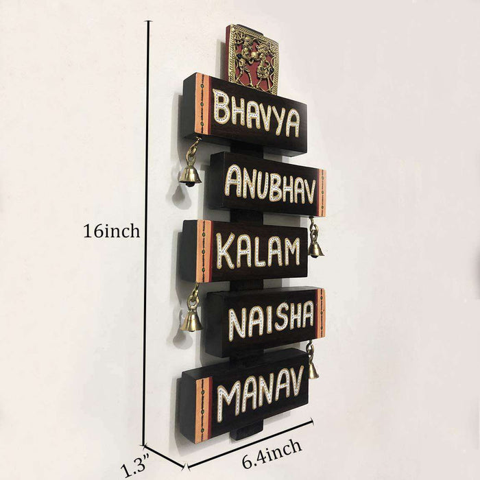 Dhokra Personalized Wooden Name Plate For Door - artystagallery