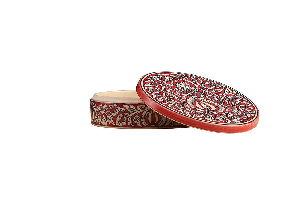 """KALAMKARI COLLECTION"" Ceramic Handmade Red Mughal Dry Fruit Box - artystagallery"